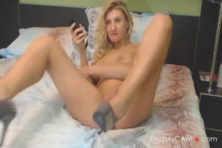 Busty Blonde Babe Inserts Big Dildo in her Pink Pussy 2