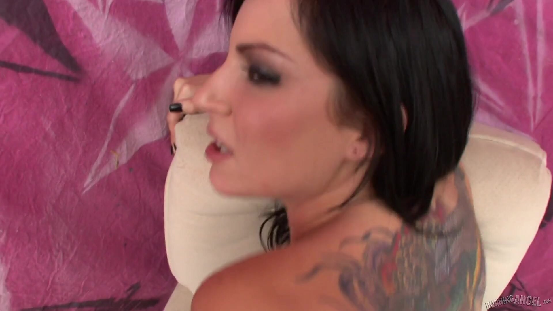 Tattooed Brunette With Sexy Fishnets Gets Fucked In Ass - Tori Lux