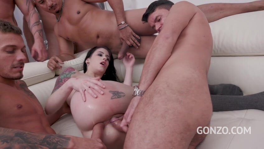 Anna de Ville assfucked by 5 guys and then gangbanged by all 10 of them